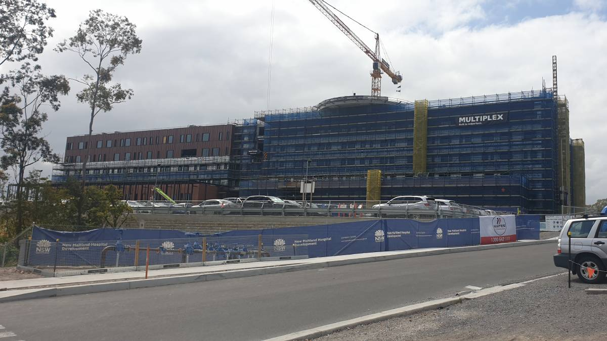 The new Maitland Hospital being build near East Maitland. The facility is attracting other specialist medical services to the vicinity. Photo supplied.