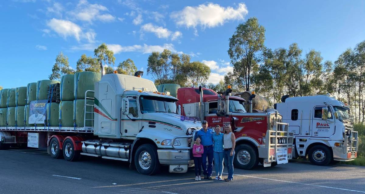 Graham, Robyn, Montana and Sienna Crow ready to hit the road for Taree with their fodder deliveries for flood impacted dairyfarmers. Photos supplied.