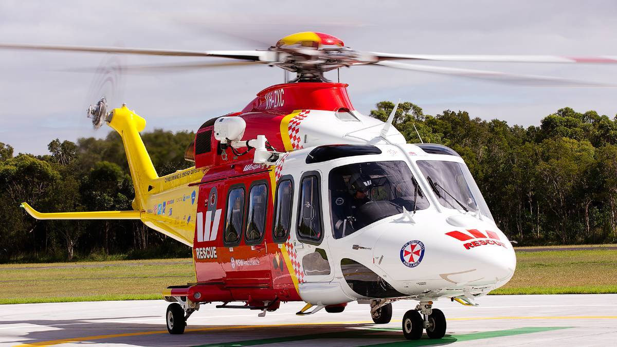 IN ACTION: The Westpac Rescue Helicopter attended a single vehicle motor accident near Jerrys Plains this morning.