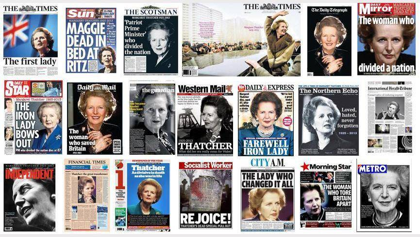 Photos of the front pages of British newspapers following Margaret Thatcher's death. Photo: Twitter/Nick Sutton.